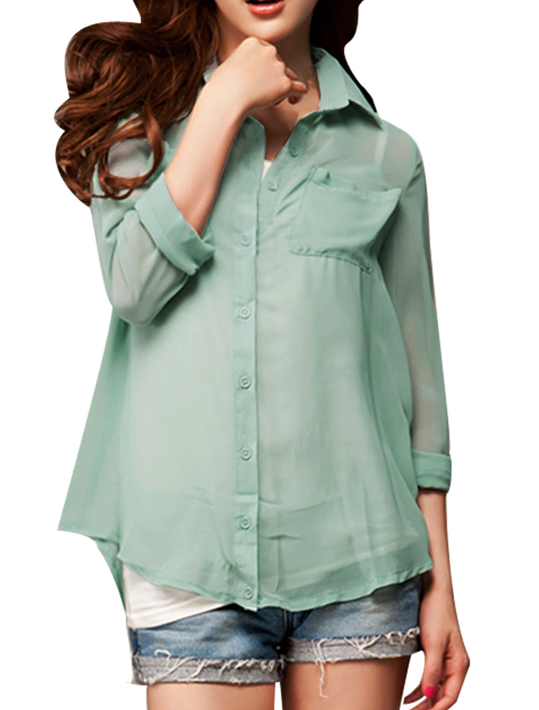 Lady Green Point Collar Long Sleeve Single Breasted Semi Sheer Pockets Shirt XS