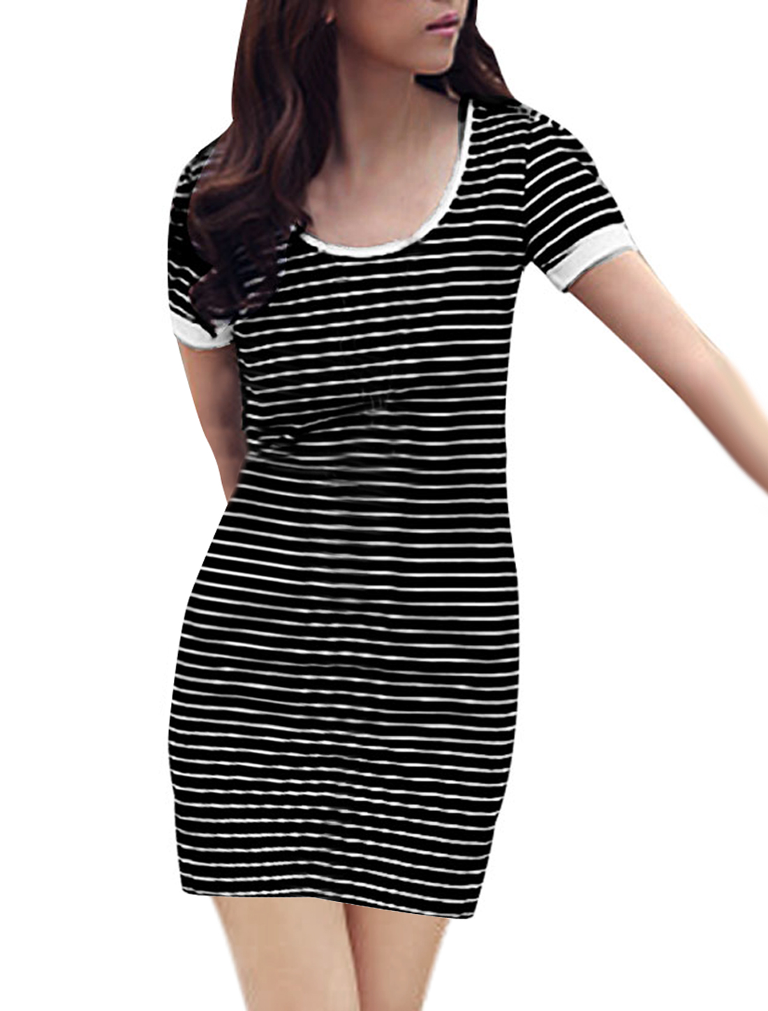 Lady Black White Scoop Neck Short Sleeve Stripes Butterfly Knot Back Mini Dress XS