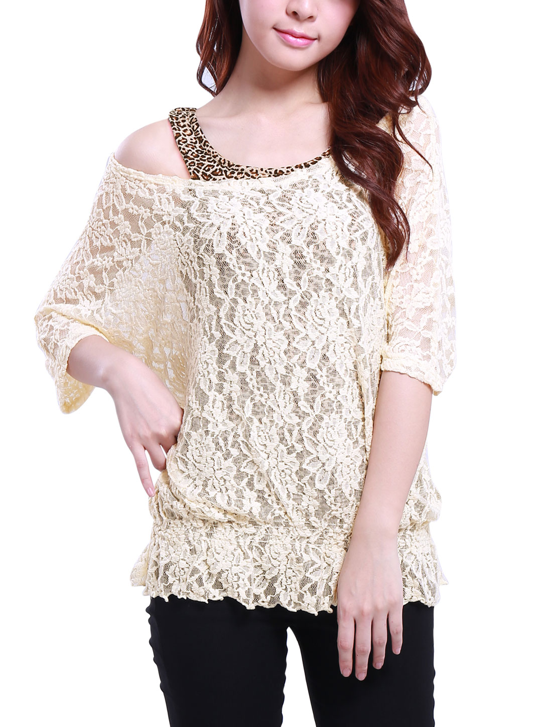 Ladies Beige Scoop Neck Half Sleeves Lace Shirt M w Tank Top
