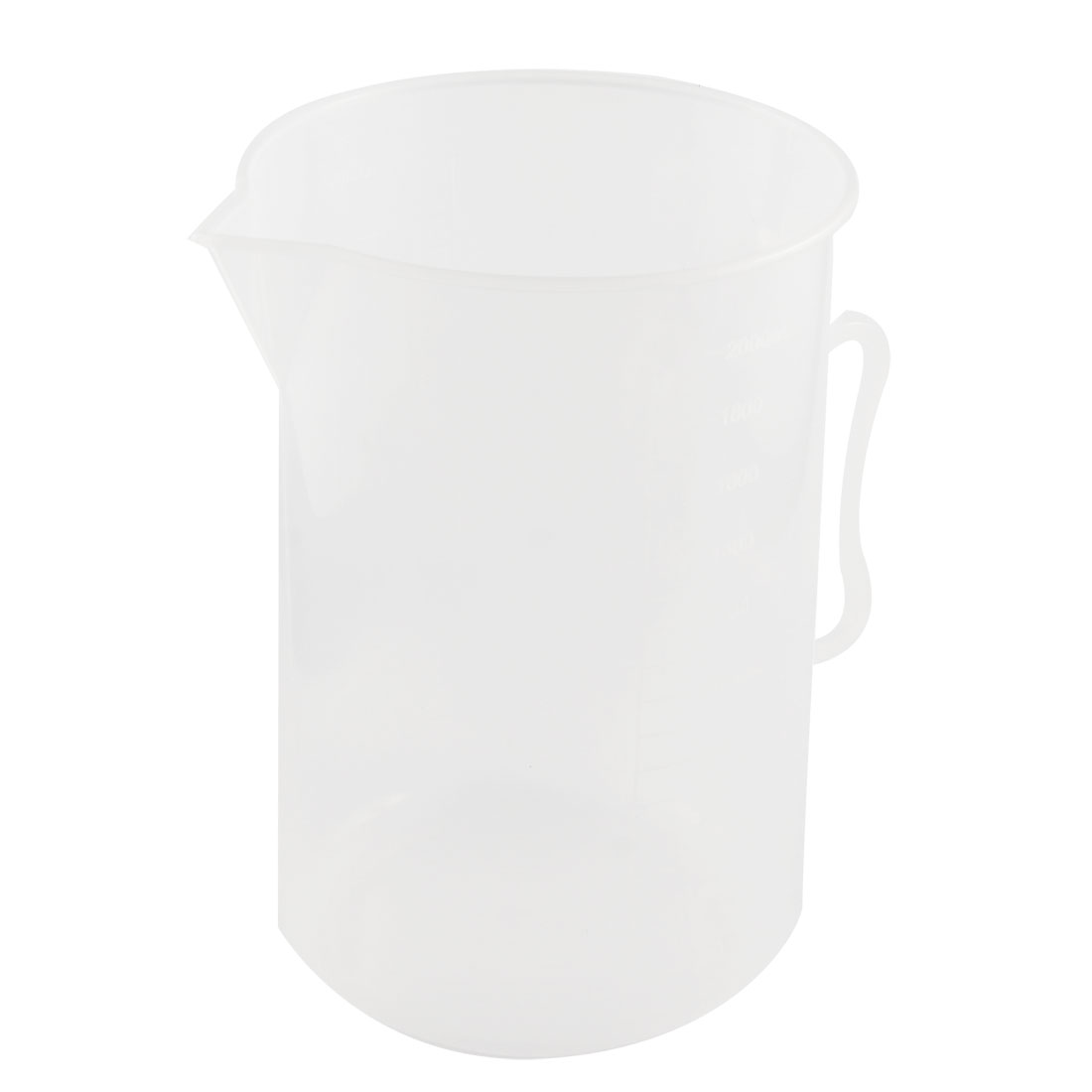 Laboratory Clear White Plastic 2000mL Measuring Cup Handled Beaker