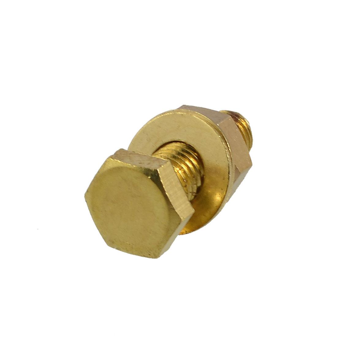 Solid Brass 12mm x 35mm Male Thread Hex Head Screw Nut Washer Set