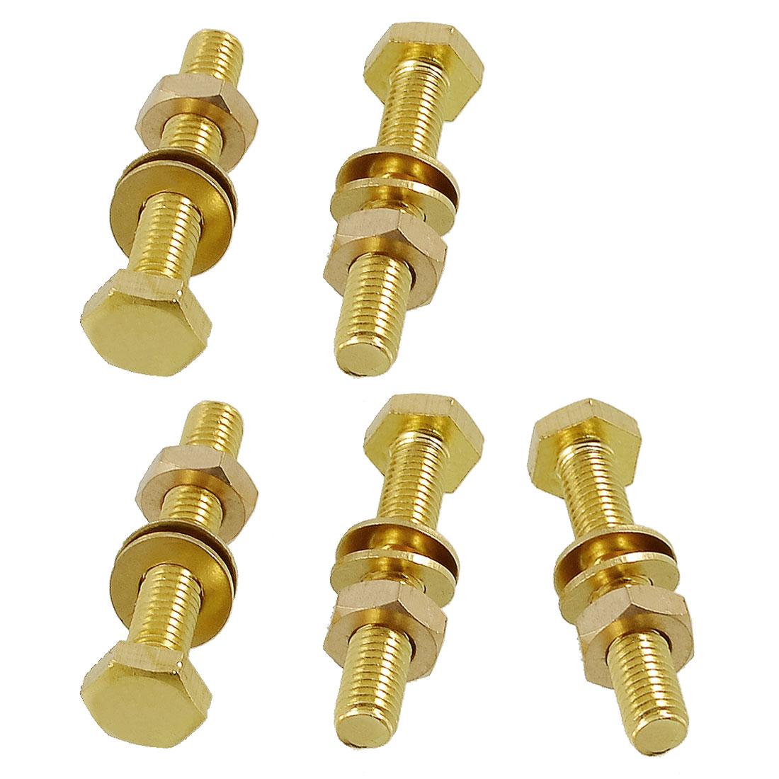 5 Pcs Hex Head Nut 8mm x 50mm Thread Solid Brass Screw Bolts w 2 Washers