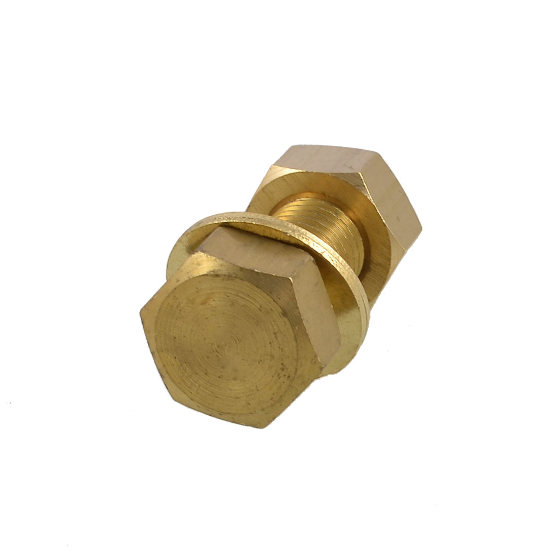 Hex Head Nut 18mm x 50mm Threaded Brass Screw Bolt w 2 Washers
