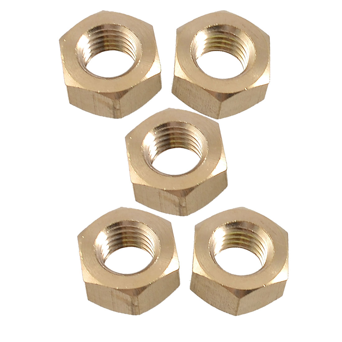 "5 Pcs 35/64"" Female Thread Hex Head Grub Screw Nuts Gold Tone"