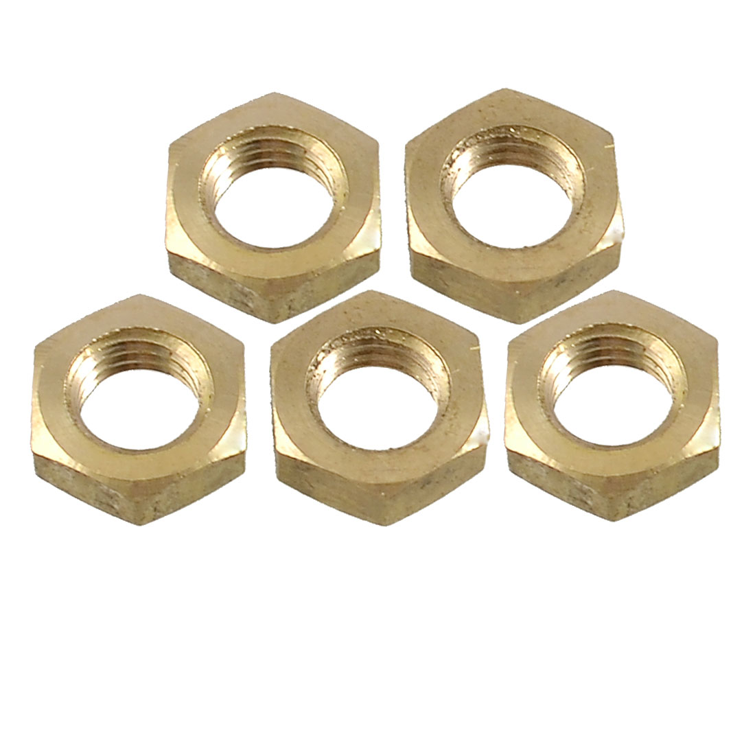 "5 x 15/32"" Female Threaded Hex Head Grub Screw Nuts Gold Tone"