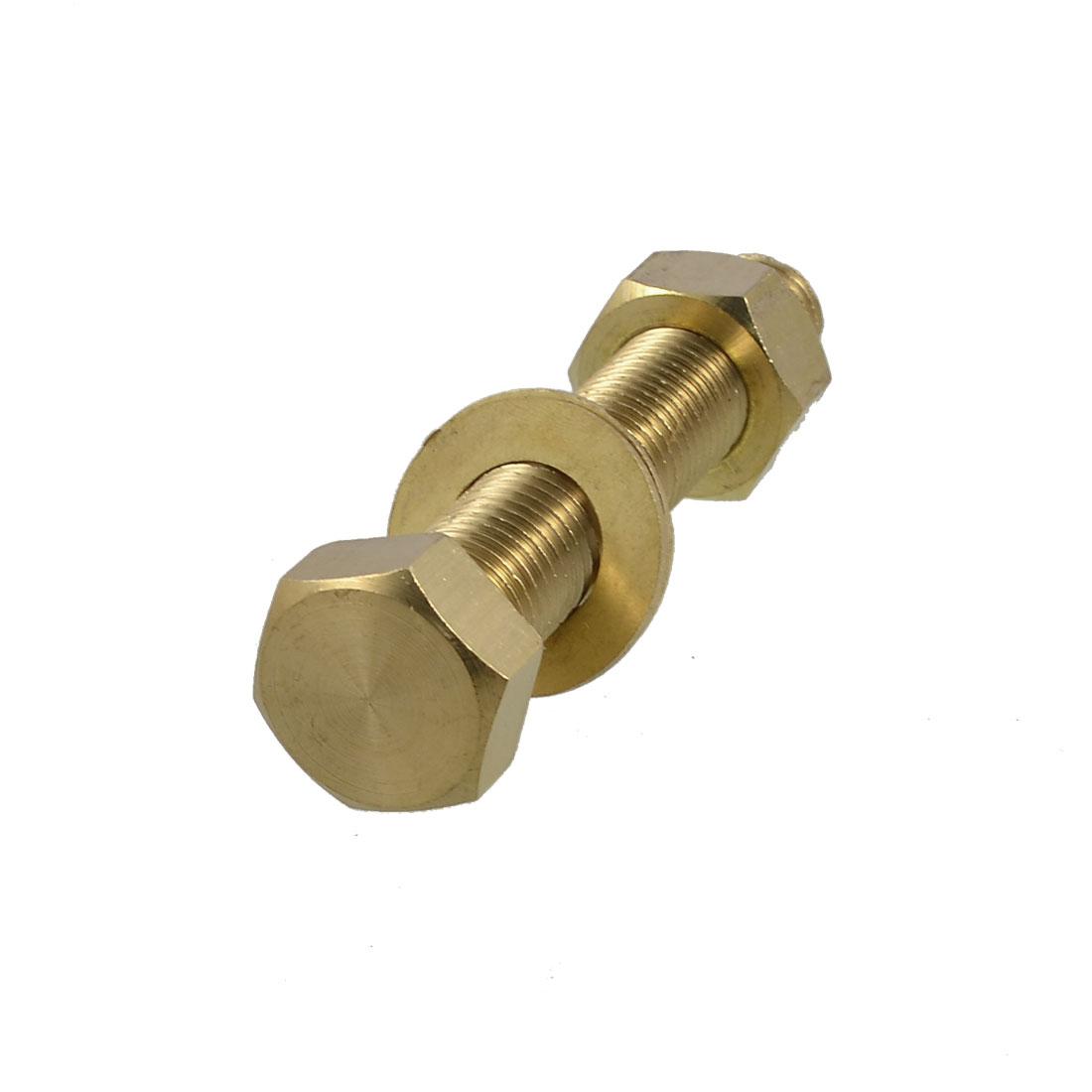 Hex Head Nut 16mm x 90mm Threaded Brass Screw Bolt w 2 Washers
