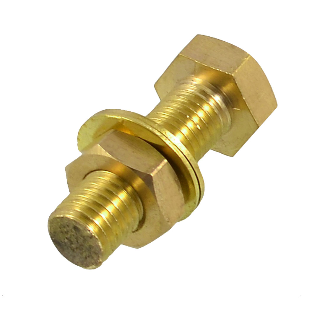 Hex Head Nut 12mm x 40mm Threaded Brass Screw Bolt w Washers