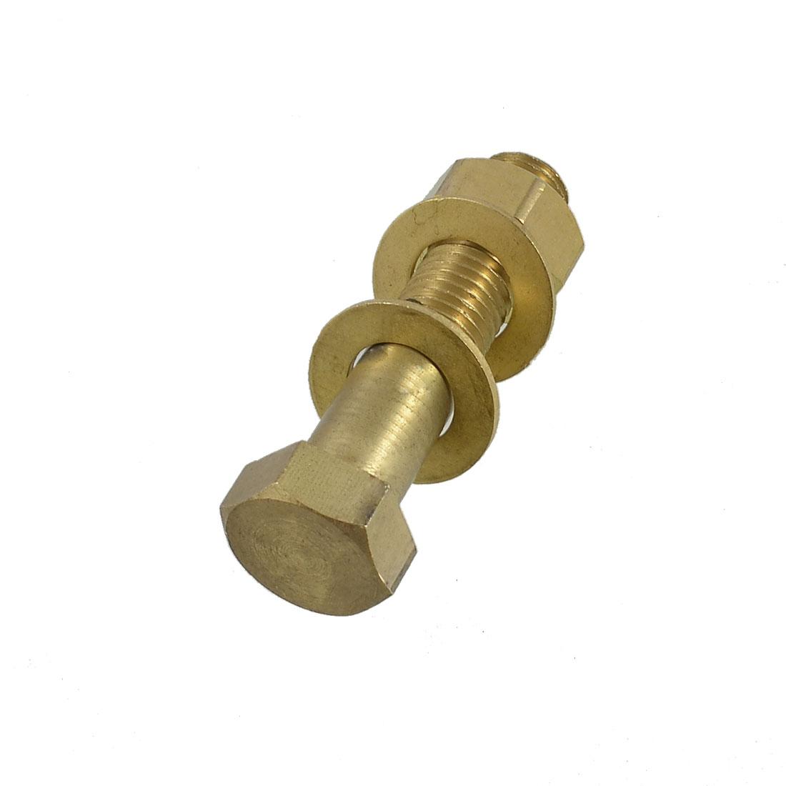 Gold Tone Brass Hex Screw Fastener 16mm x 70mm w 2 Gaskets Nut