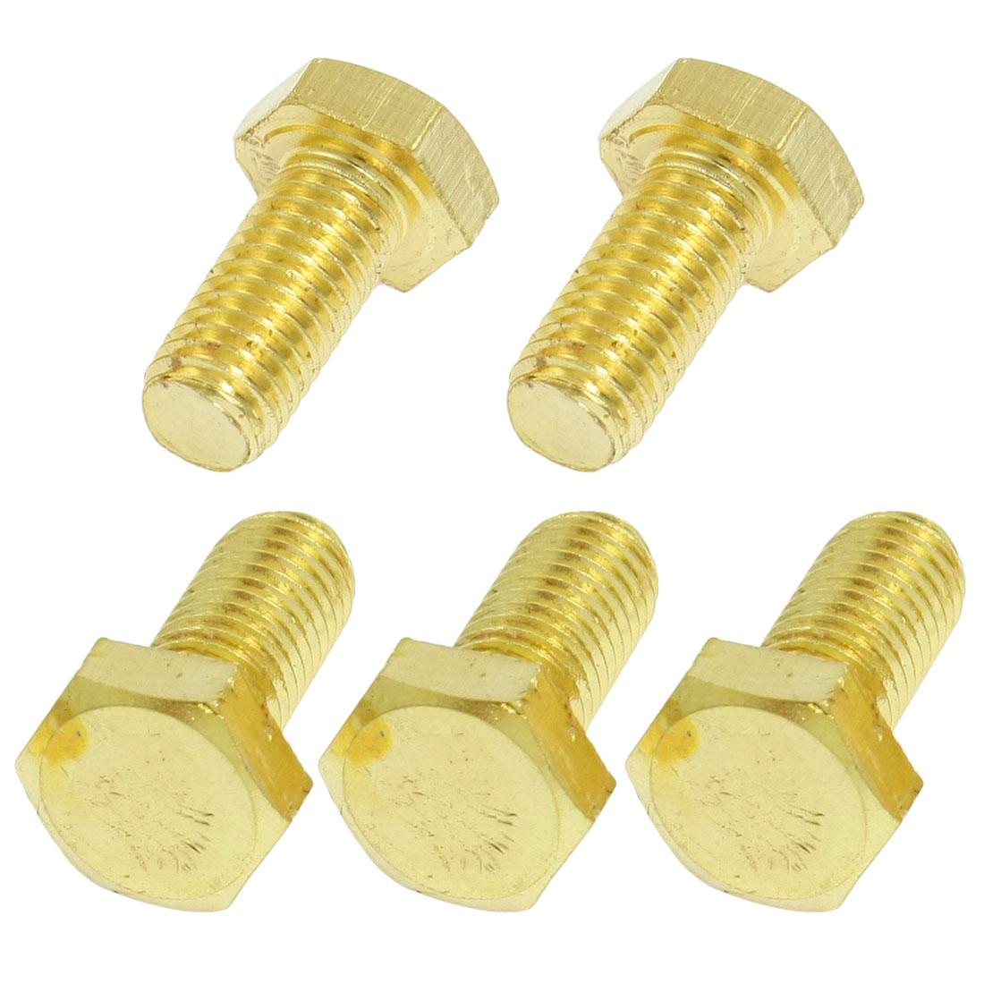 5 Pcs Solid Brass Hex Head Cap Screw Flat Tip Fastener 12mm x 25mm