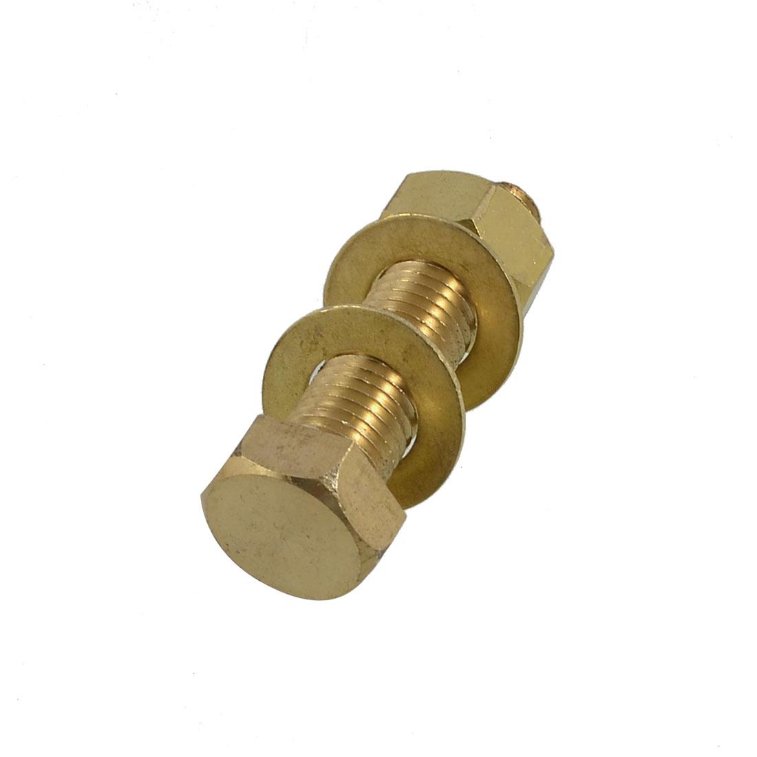 Brass 16mm x 60mm Male Thread Hex Head Screw Bolt Nut Washer Set