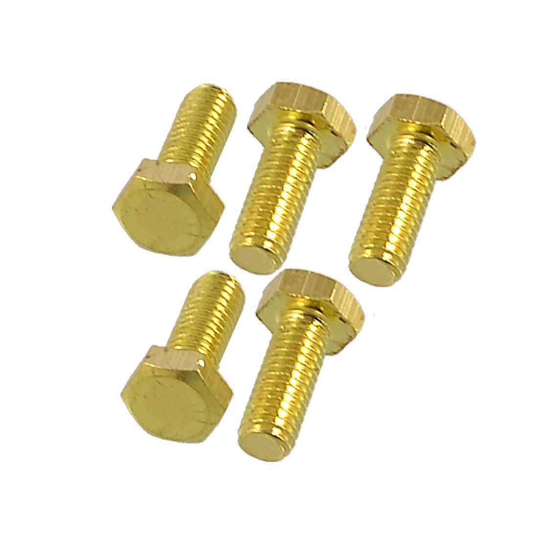 5 Pcs 6mm x 15mm Thread Hex Head Flat Tip Screws Solid Brass Fasteners