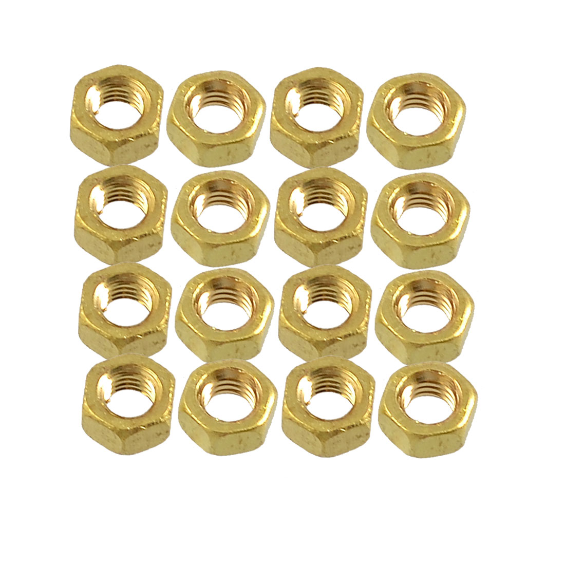 16 Pcs Solid Brass M5 5mm Dia Thread Hex Head Screw Nuts