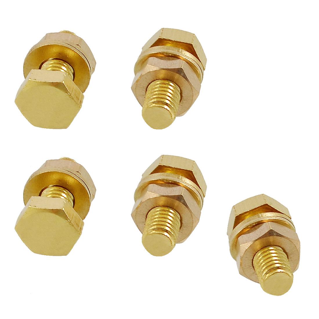 5 Pcs Hex Head Nut 8mm x 20mm Thread Solid Brass Screw Bolts w 2 Washers