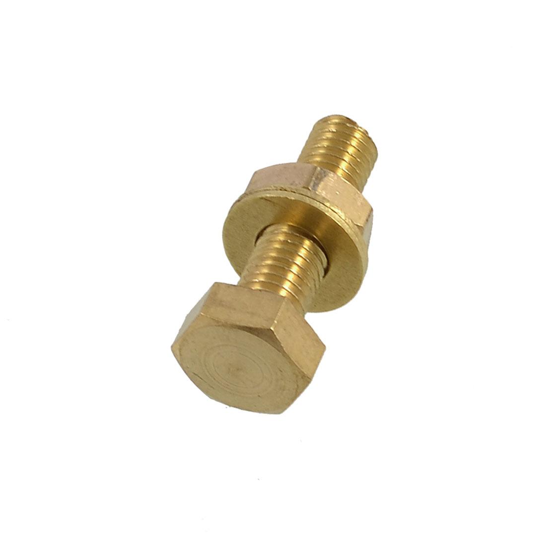 Brass 10mm x 35mm Male Thread Hex Head Screw Nut Washer Set