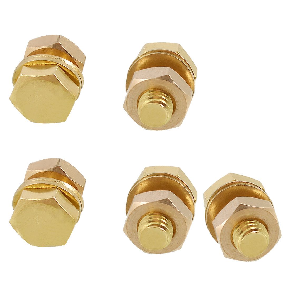 5 x Solid Brass 8mm x 15mm Male Thread Hex Screw Bolts Nuts Washers Set