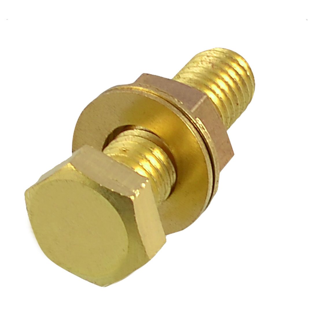 Gold Tone Solid Brass Hex Screw Fastener 12mm x 40mm w Nut Gaskets