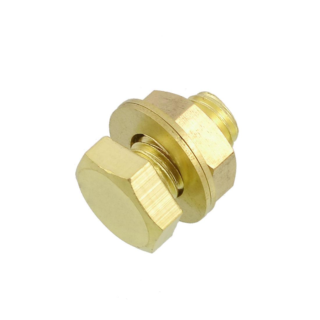 Gold Tone Solid Brass Hex Screw Fastener 12mm x 20mm w Nut Gaskets