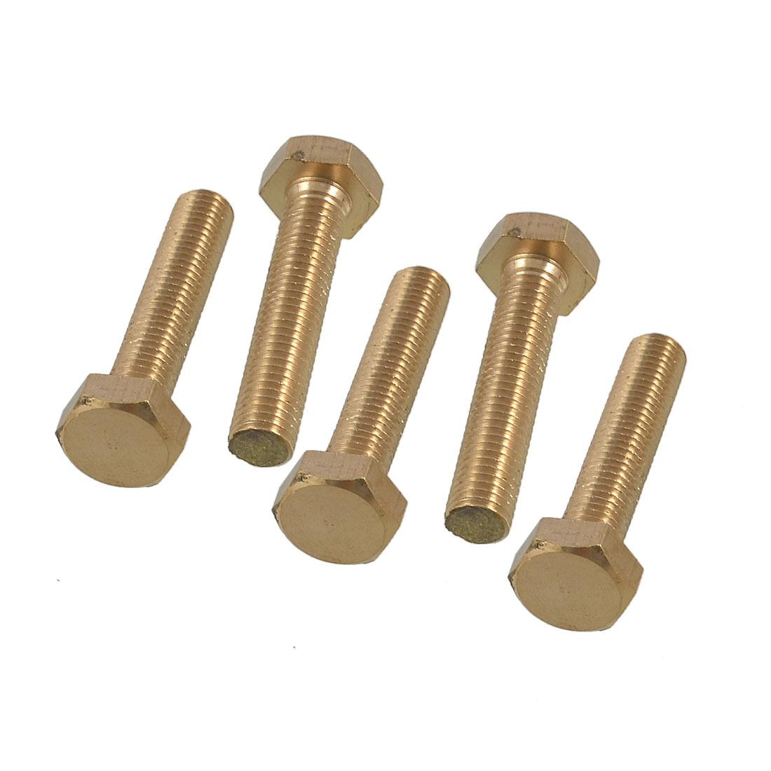 5 x Hexagonal Head 10mm x 50mm Thread Bolts Flat Tip Brass Screws