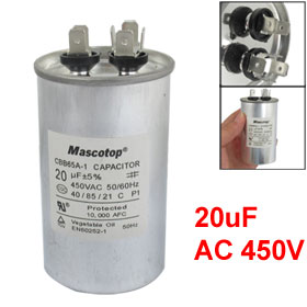 20uF 450V AC Air Conditioner Polypropylene Film Motor Run Capacitor CBB65A-1