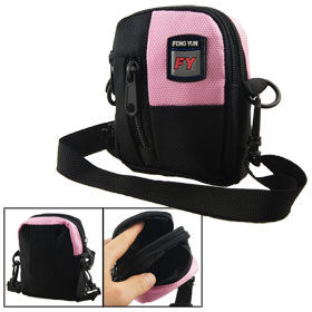 Woman 3 Zip Pockets Nylon Shoulder Waist Mini Bag Black Pink