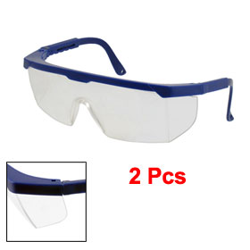 Ladies 2 Pcs Royal Blue Frame Clear Lens Goggles Glasses