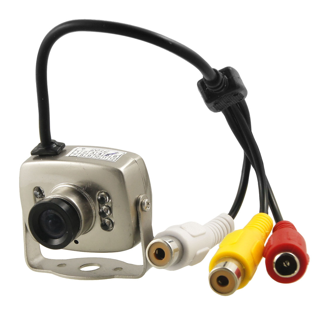 CCTV Gray 6 LEDs RCA Wired Mini Camera w Support