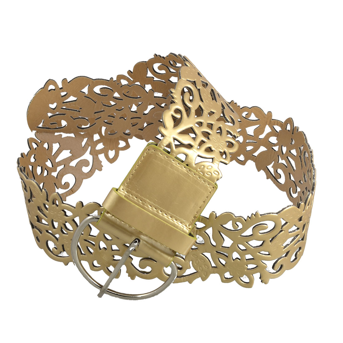 Gold Tone Faux Leather Hollow Out Flourish Pattern Wide Waist Belt