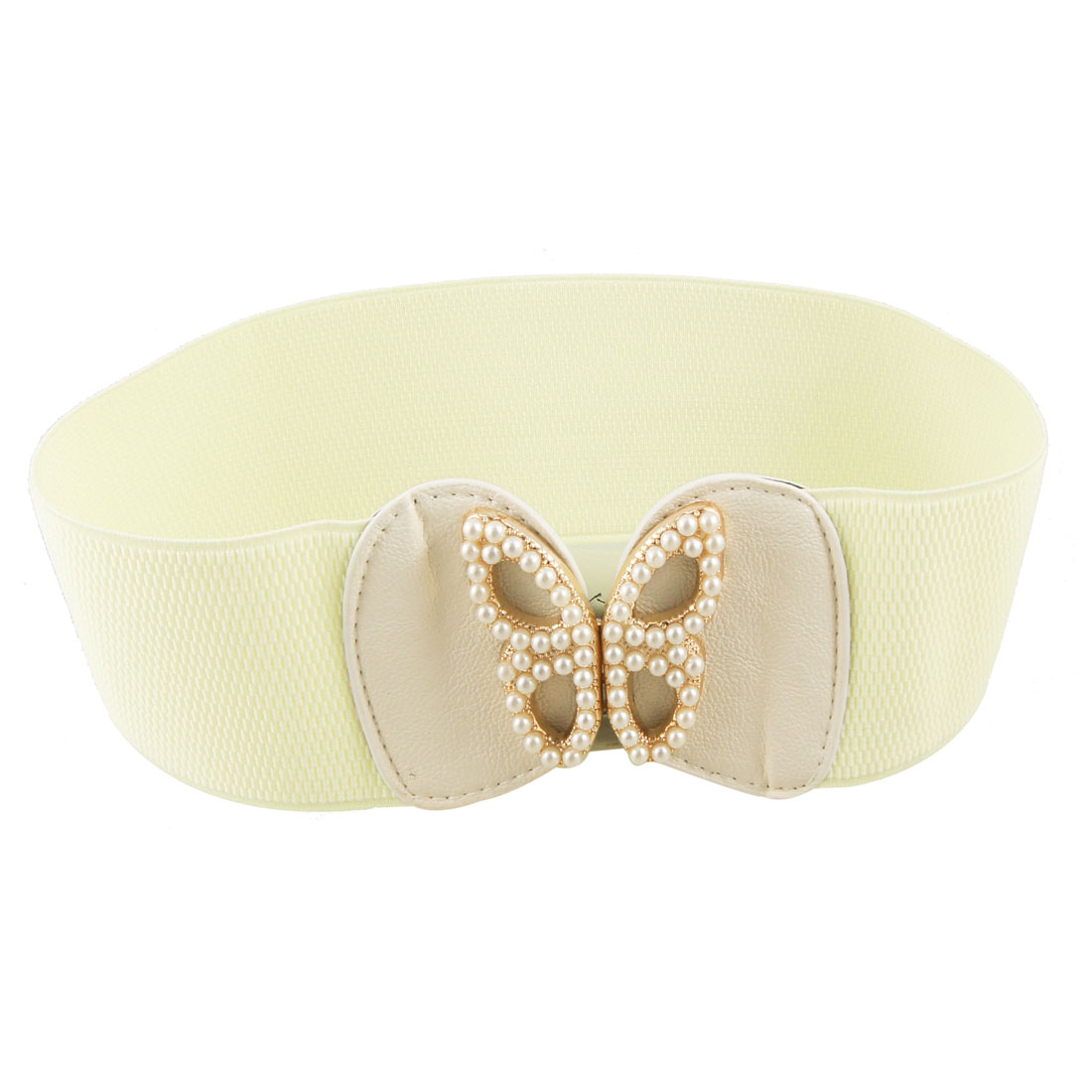 Faux Leather Batterfly Beads Decor Off White Elastic Cinch Belt for Ladies Women