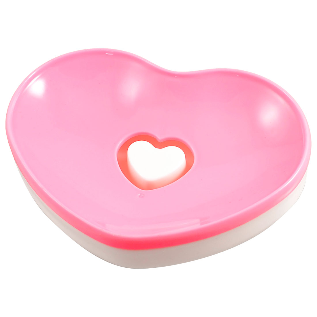 Household Bathroom Plastic Heart Shaped Soap Dish Box Pink White