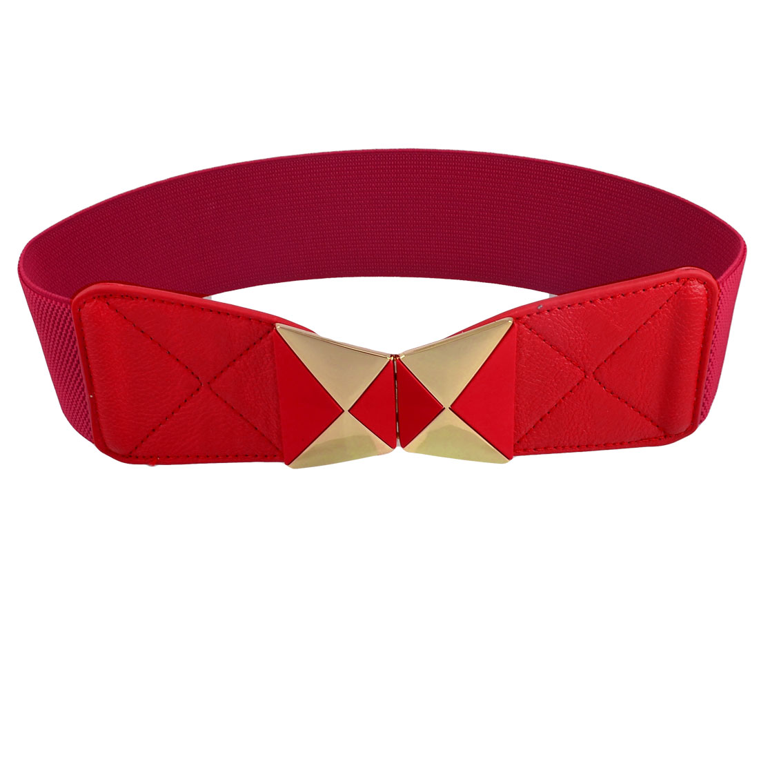 Metal Triangle Buckle Red Stretchy Cinch Band Waist Belt for Women