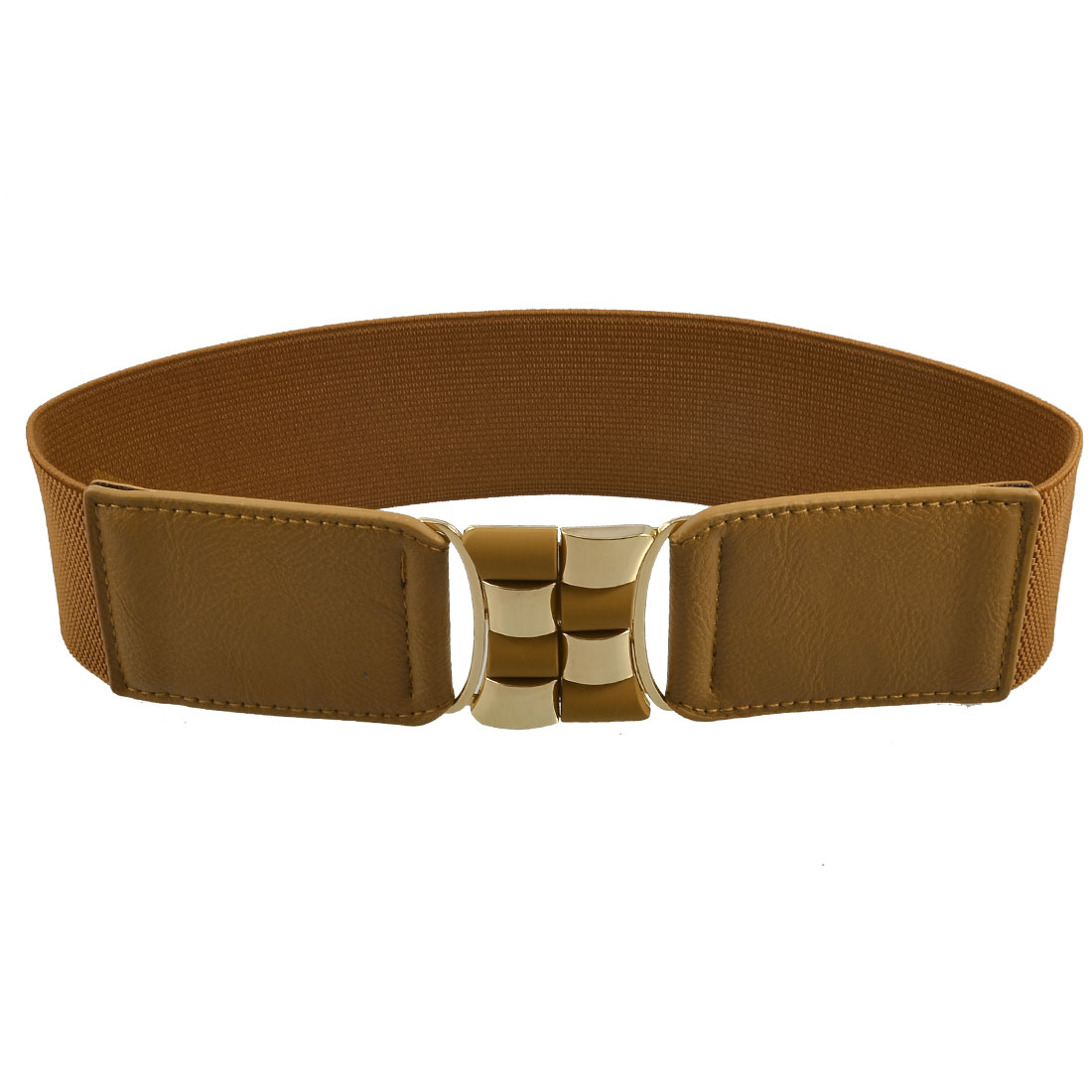 Gold Tone Metal Interlocking Buckle Brown Textured Waist Belt for Ladies