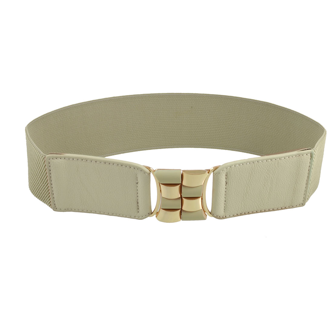 Women Gold Tone Checked Buckle Beige Faux Leather Nylon Textured Cinch Belt