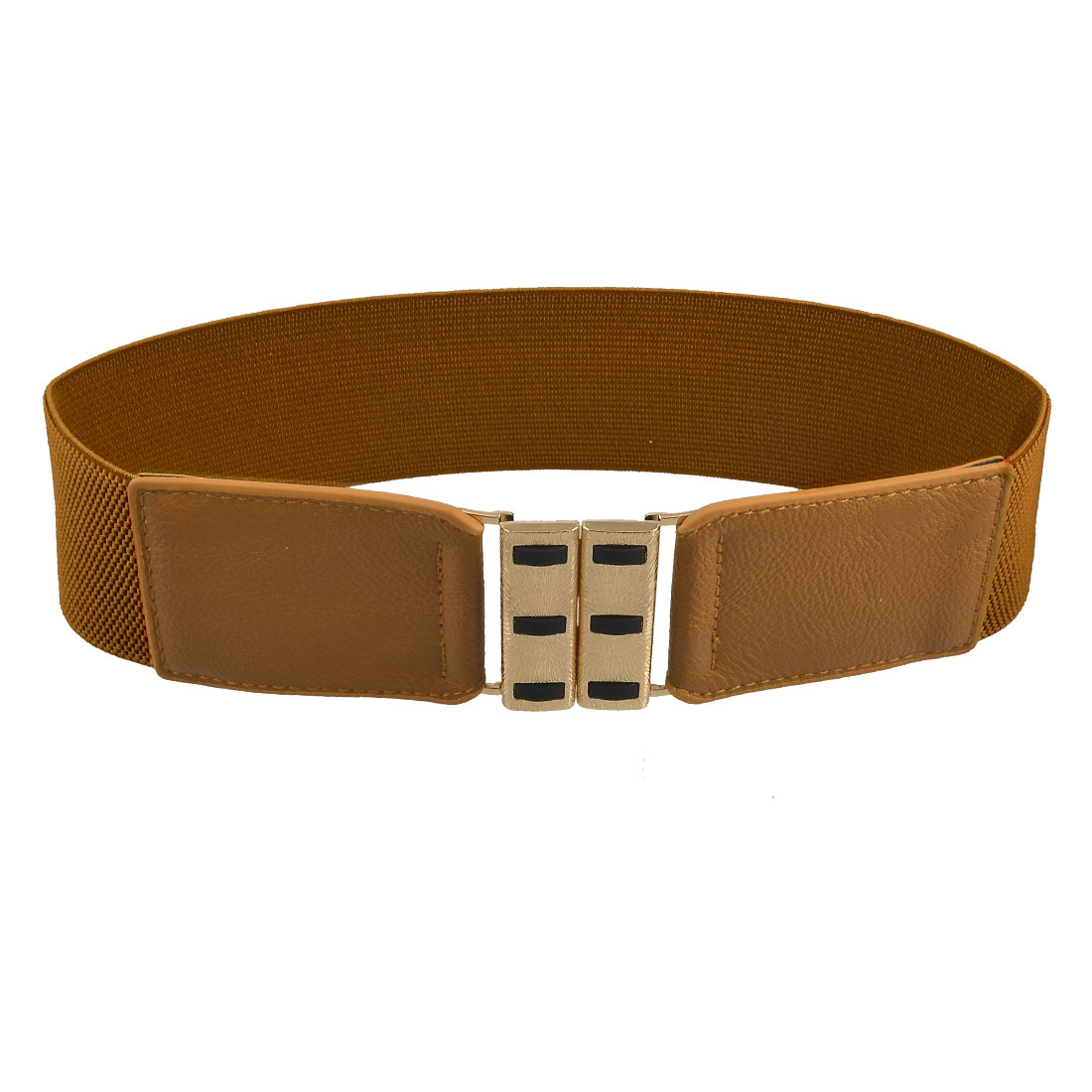 Double Color Rectangle Buckle Brown Faux Leather Waist Belt for Lady