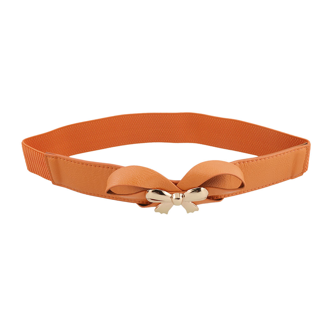 Woman Gold Tone Bowknot Decor Orange Stretchy Waist Belt