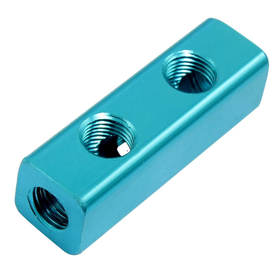 """1/4"""" Blue Aluminum 2 Ways Cuboid Shape Air Inline Manifold Block"""