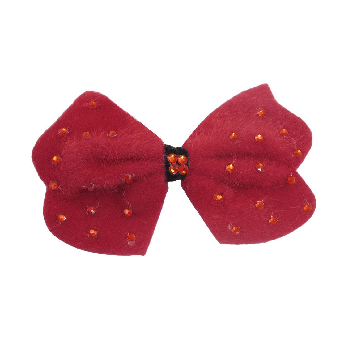 Red Felt Bowtie Shape Plastic Beads Decor Alligator Hair Clip