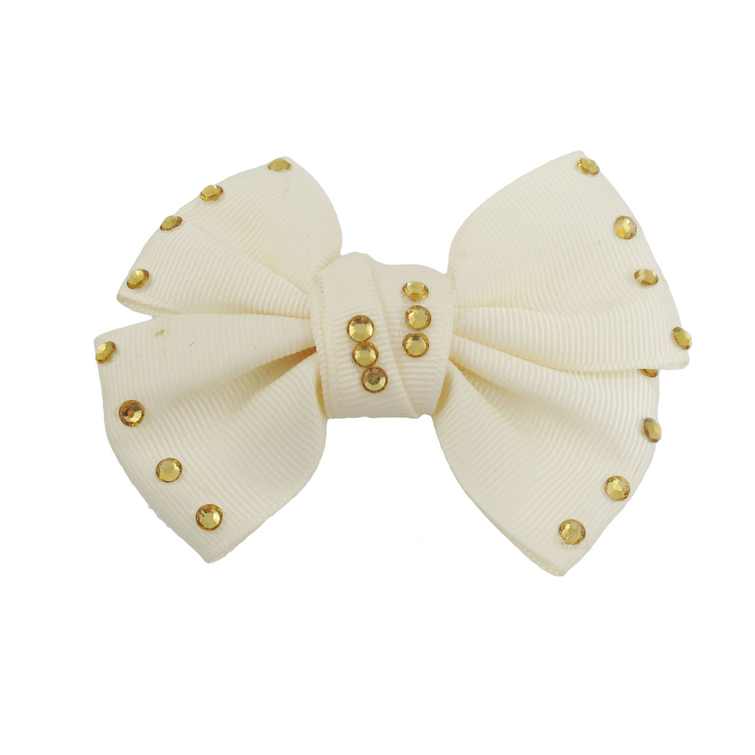 Beige Nylon Bowtie Shape Golden Tone Rhinestone Decor Barrette Hairclip