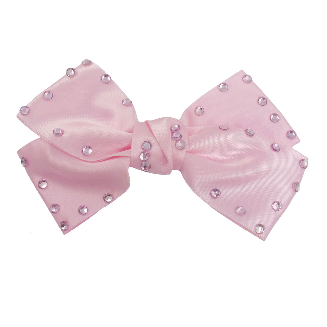 Pink Polyester Bowtie Shape Lavender Rhinestone Decor Alligator Hair Clip