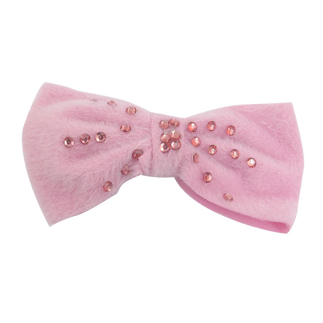 Pink Plush Bowknot Shape Plastic Rhinestone Decor Alligator Barrette Hairclip