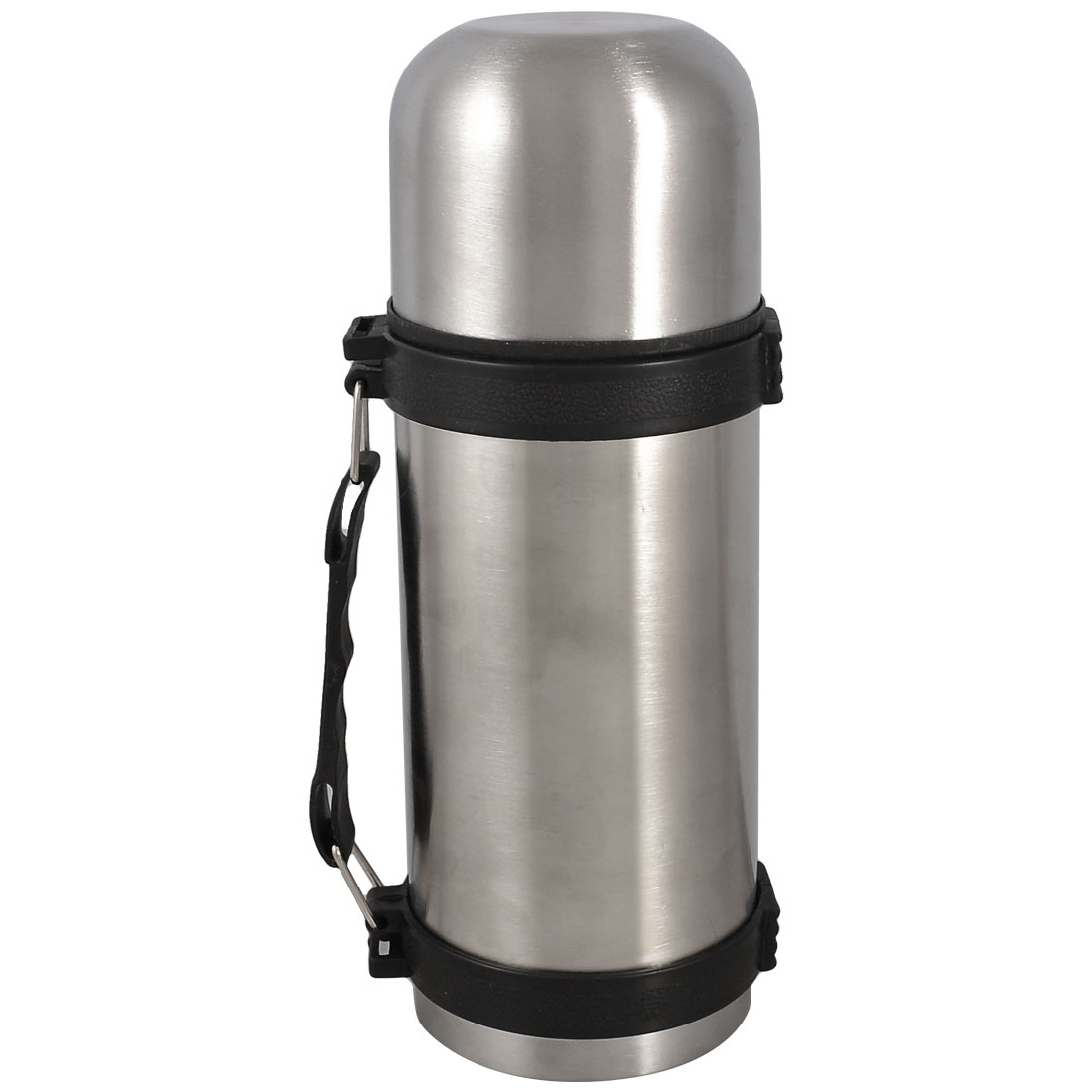 Black Handle Silver Tone Stainless Steel Vacuum Insulated Flask 500ml
