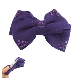 Dark Purple Felt Bowtie Shape Plastic Rhinestone Decor Barrette Hairclip