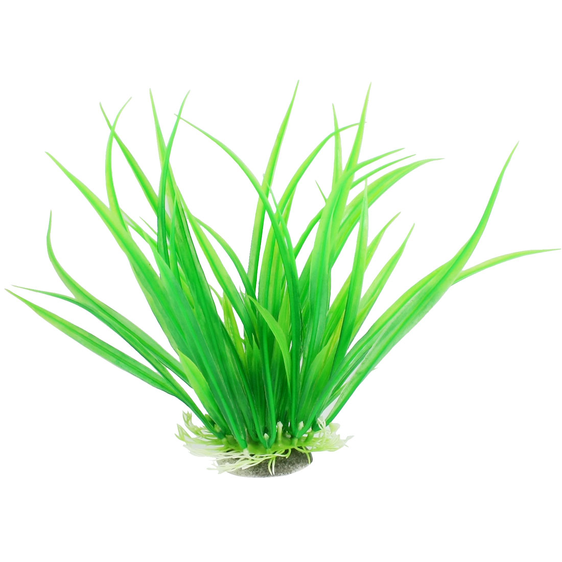 "Ceramic Base Green Plastic Plant Grass 7.9"" for Aquarium Fish Tank"