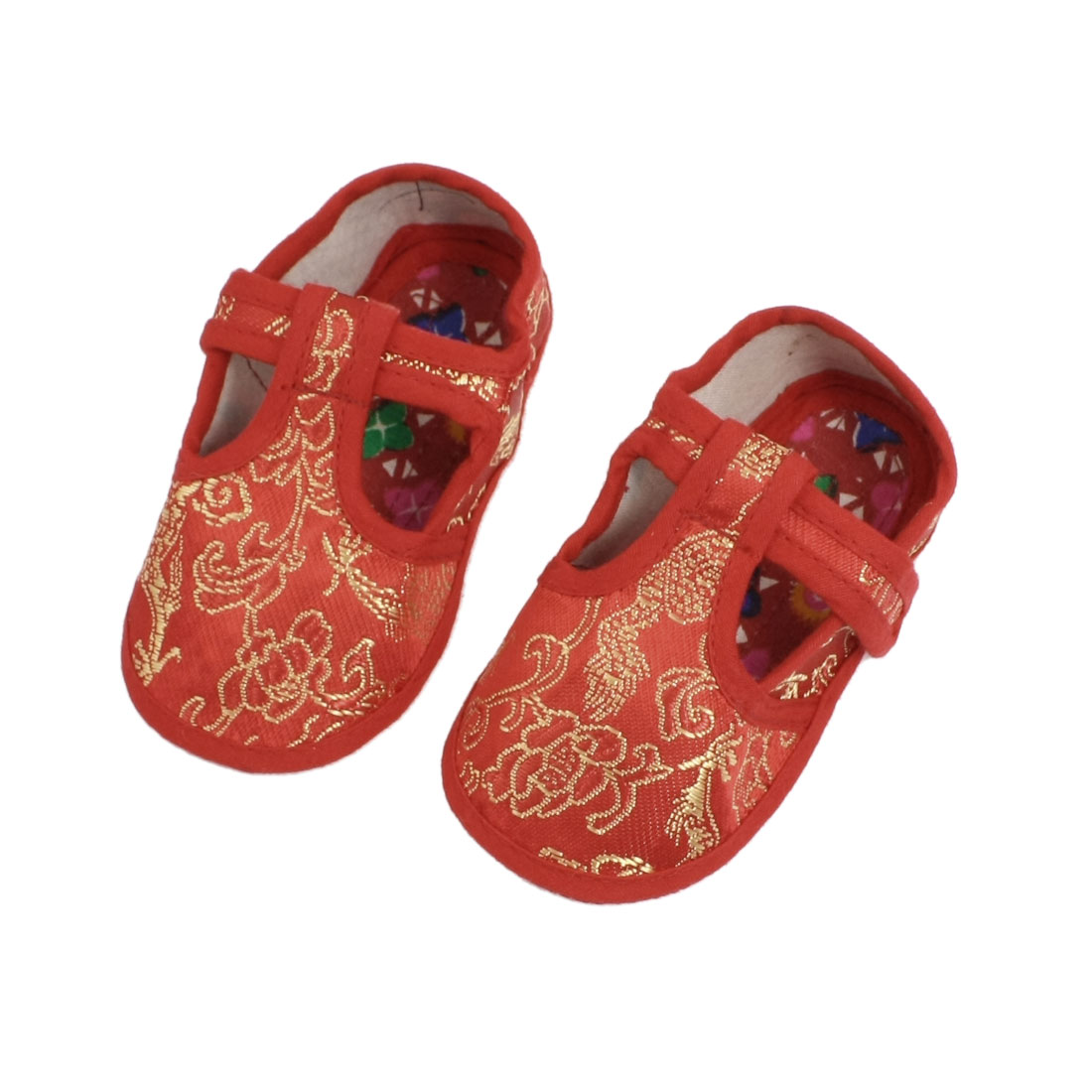 Gold tone dragon phoenix flower prints red crib toddler shoes pair