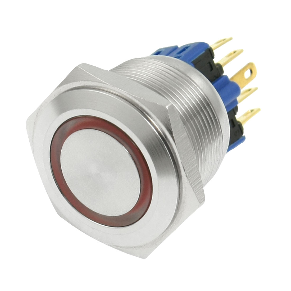 12V Red LED Momentary Stainless Push Button Switch 1 NO 1 NC