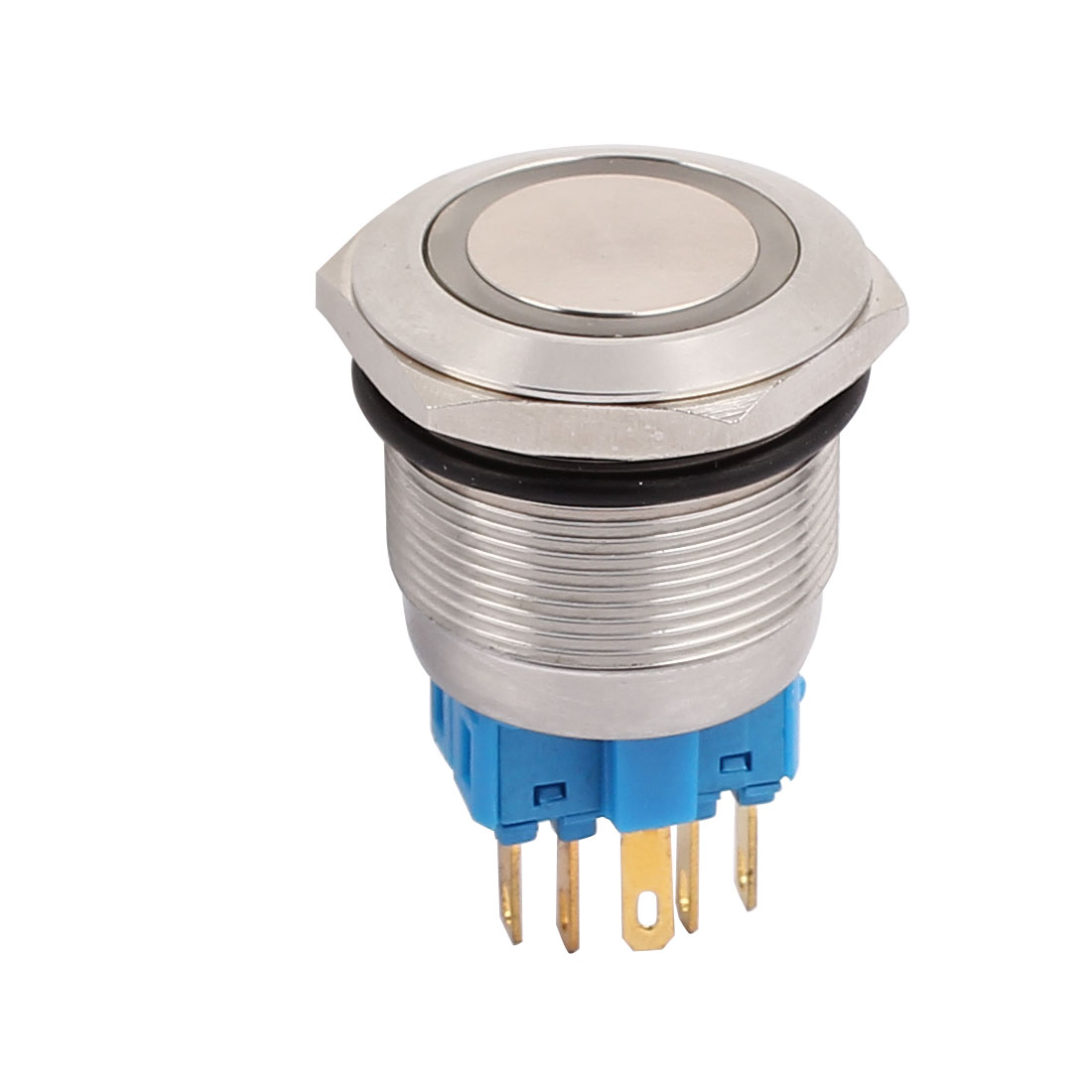 20mm Button Dia Yellow LED Momentary Stainless Push Button Switch 6 Terminals