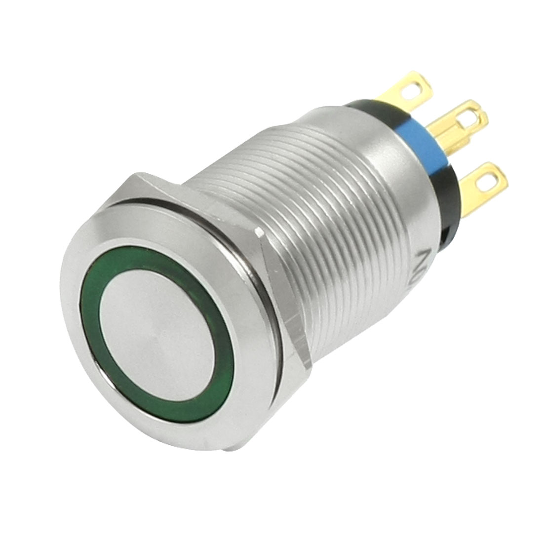 19mm 220V Flat Shape Momentary Green LED Stainless Push Button Switch