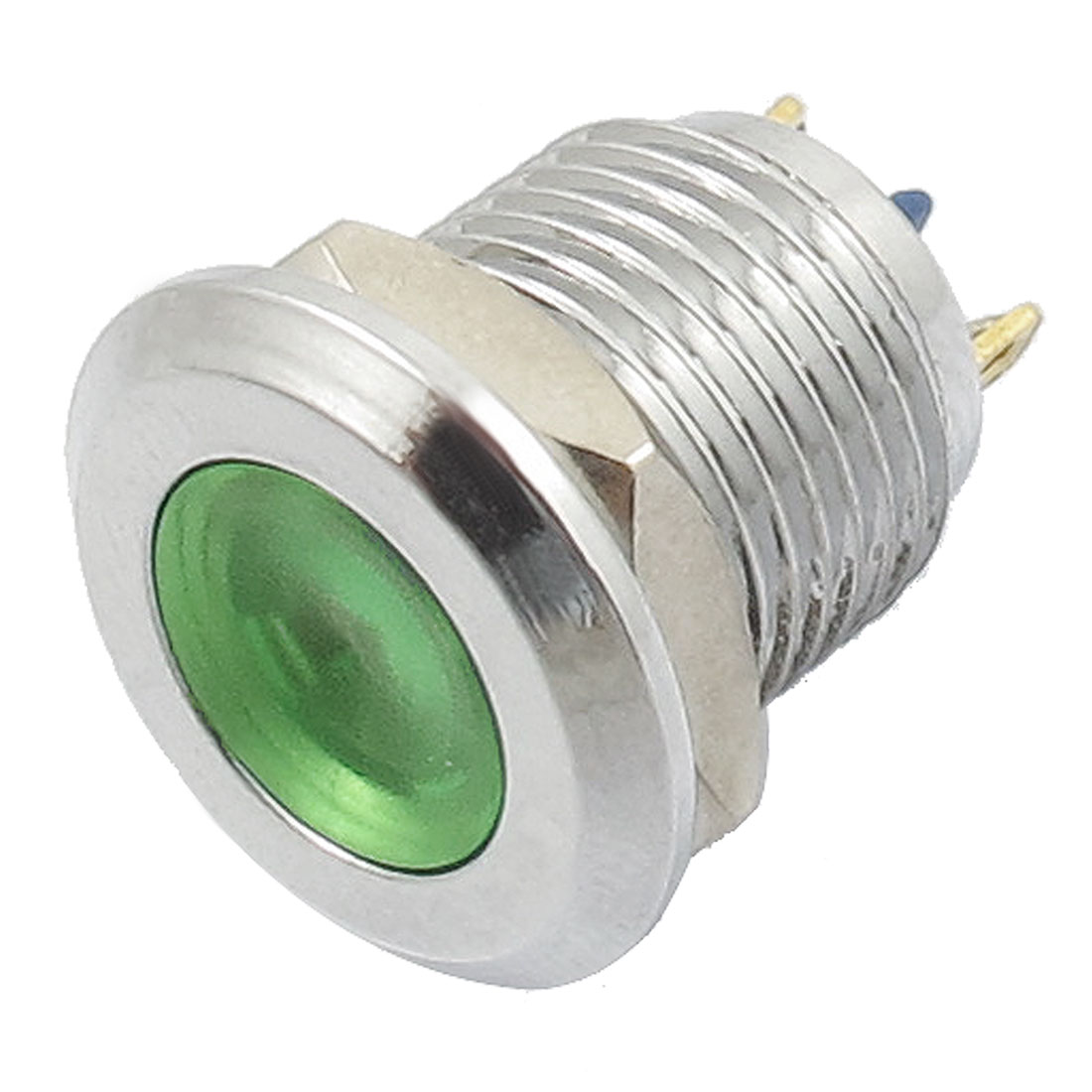 DC 12V Two Terminals Chrome-plated Metal Green Light Signal Indicator Pilot Lamp