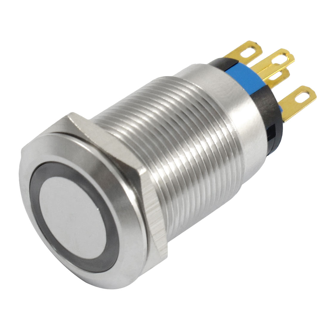 220V White Lamp Stainless Steel Self Locking Push Button Switch