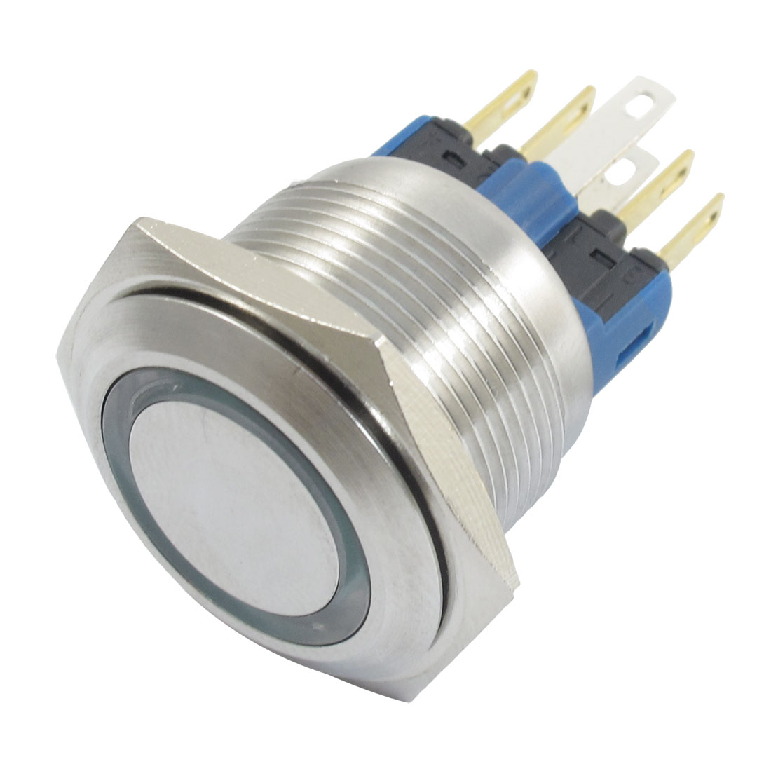12V Green Lamp Momentary 20mm Thread Stainless Push Button Switch