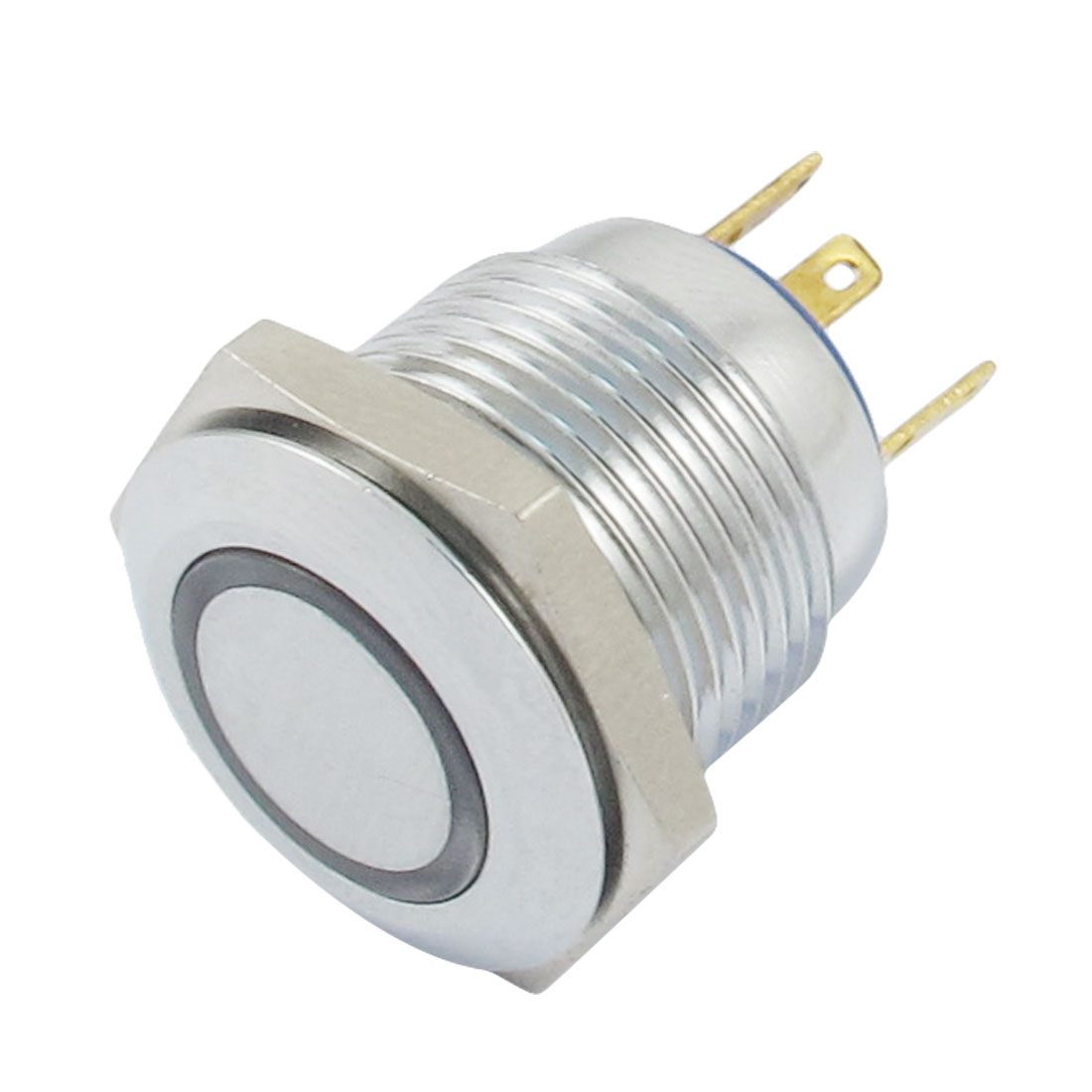 AC 250V 3A 12V Blue Lamp Flat Round Momentary Metal Push Button Switch
